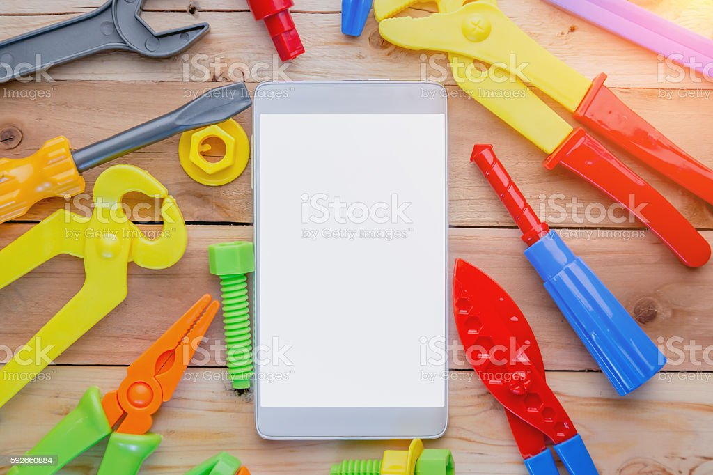 smart phone on wooden floor with copy space stock photo