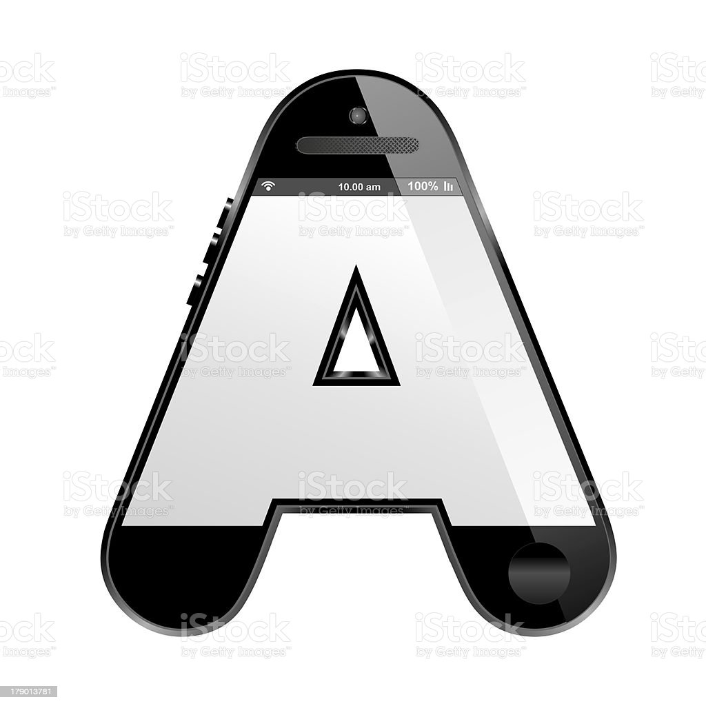 smart phone shaped, alphabet design letter, A royalty-free stock photo