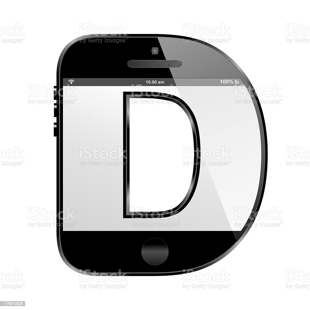smart phone shaped, alphabet design letter, D royalty-free stock photo