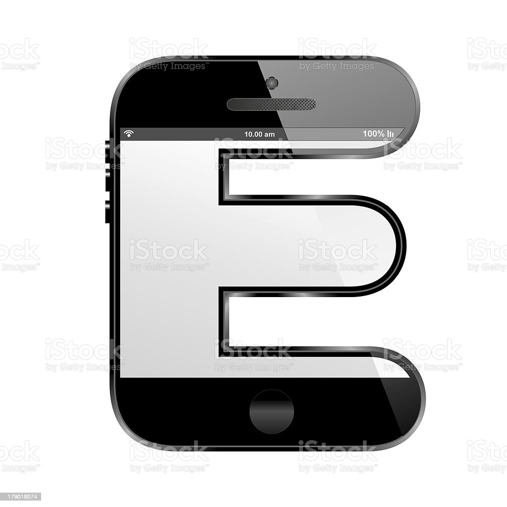 smart phone shaped, alphabet design letter, E royalty-free stock photo