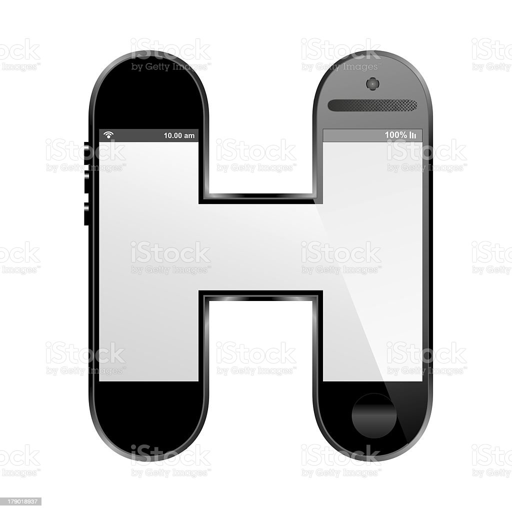 smart phone shaped, alphabet design letter, H royalty-free stock photo
