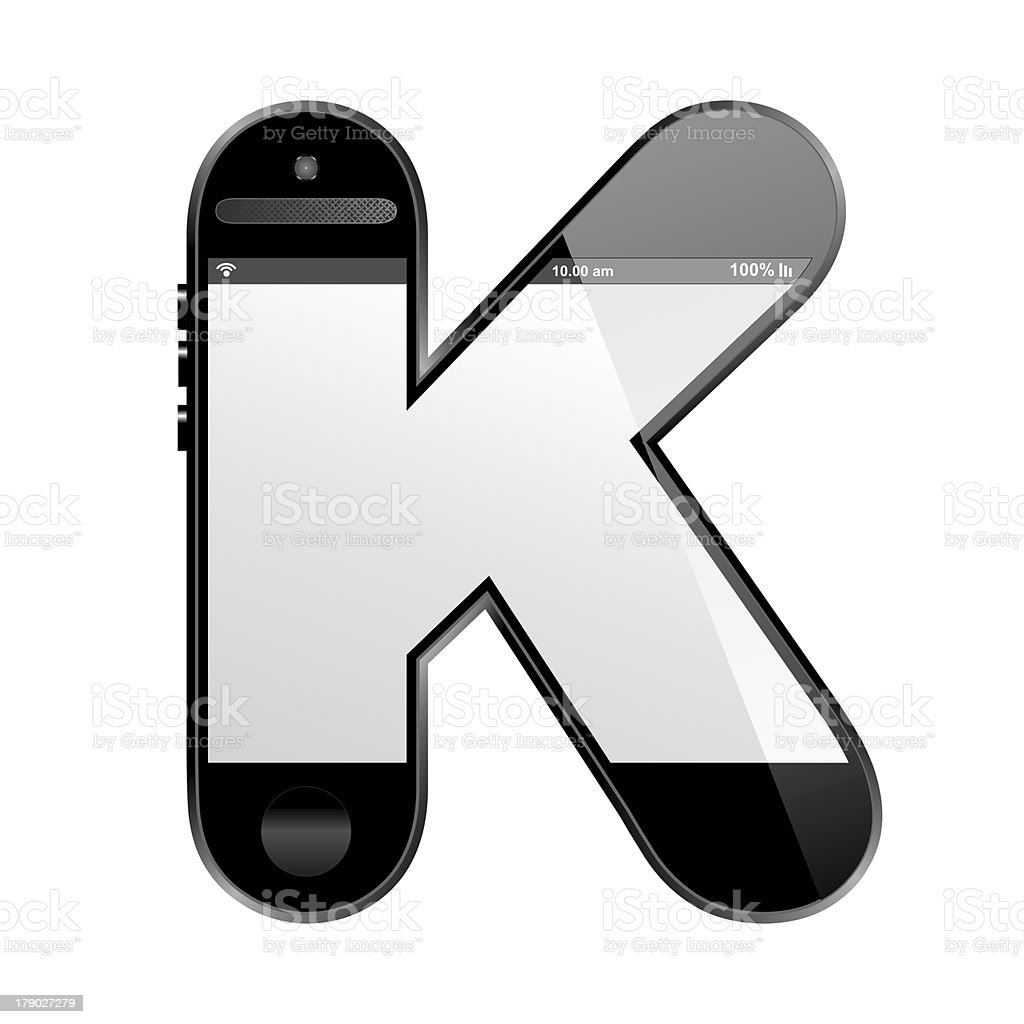 smart phone shaped, alphabet design letter, K royalty-free stock photo