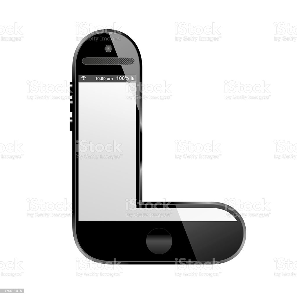 smart phone shaped, alphabet design letter, L royalty-free stock photo