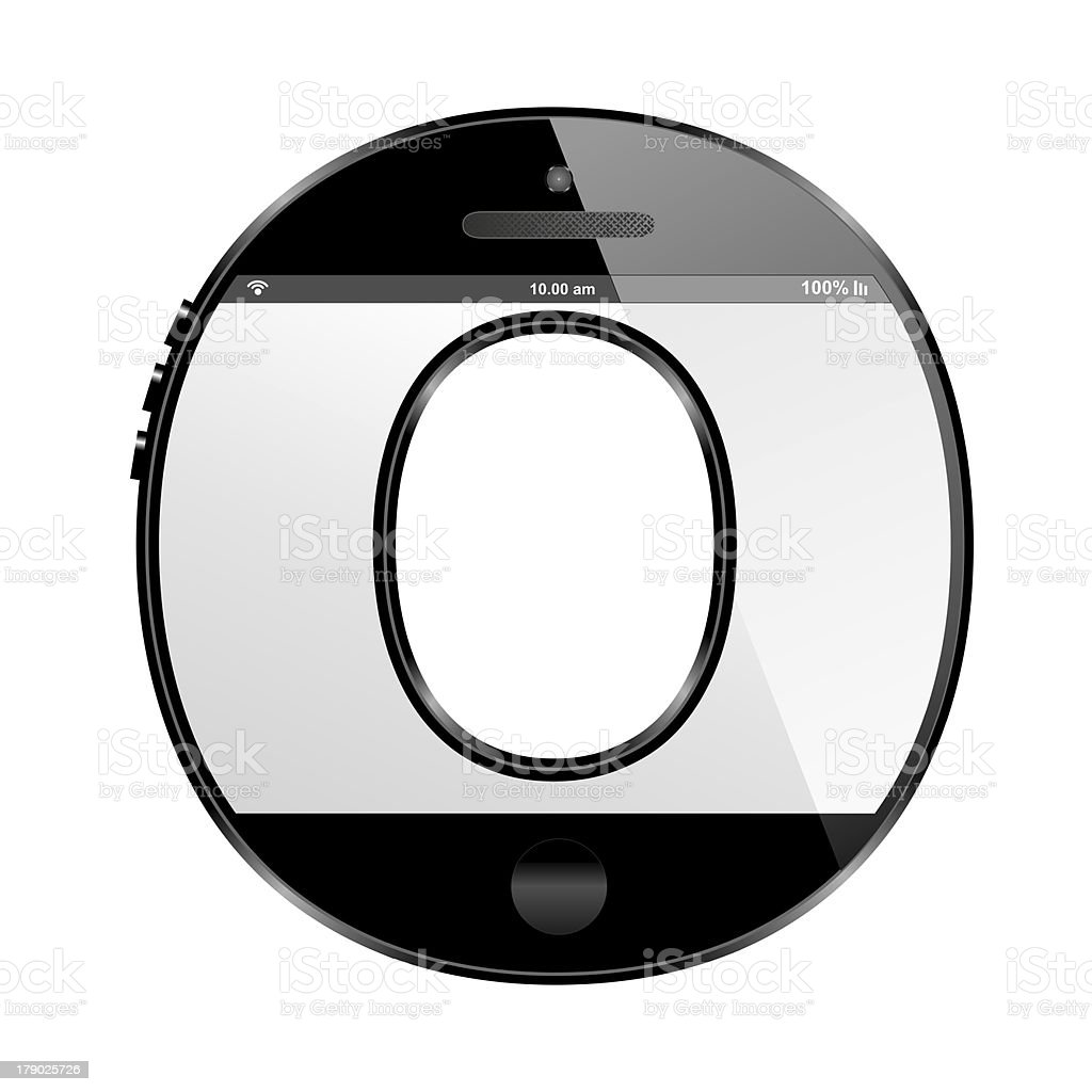 smart phone shaped, alphabet design letter, O royalty-free stock photo