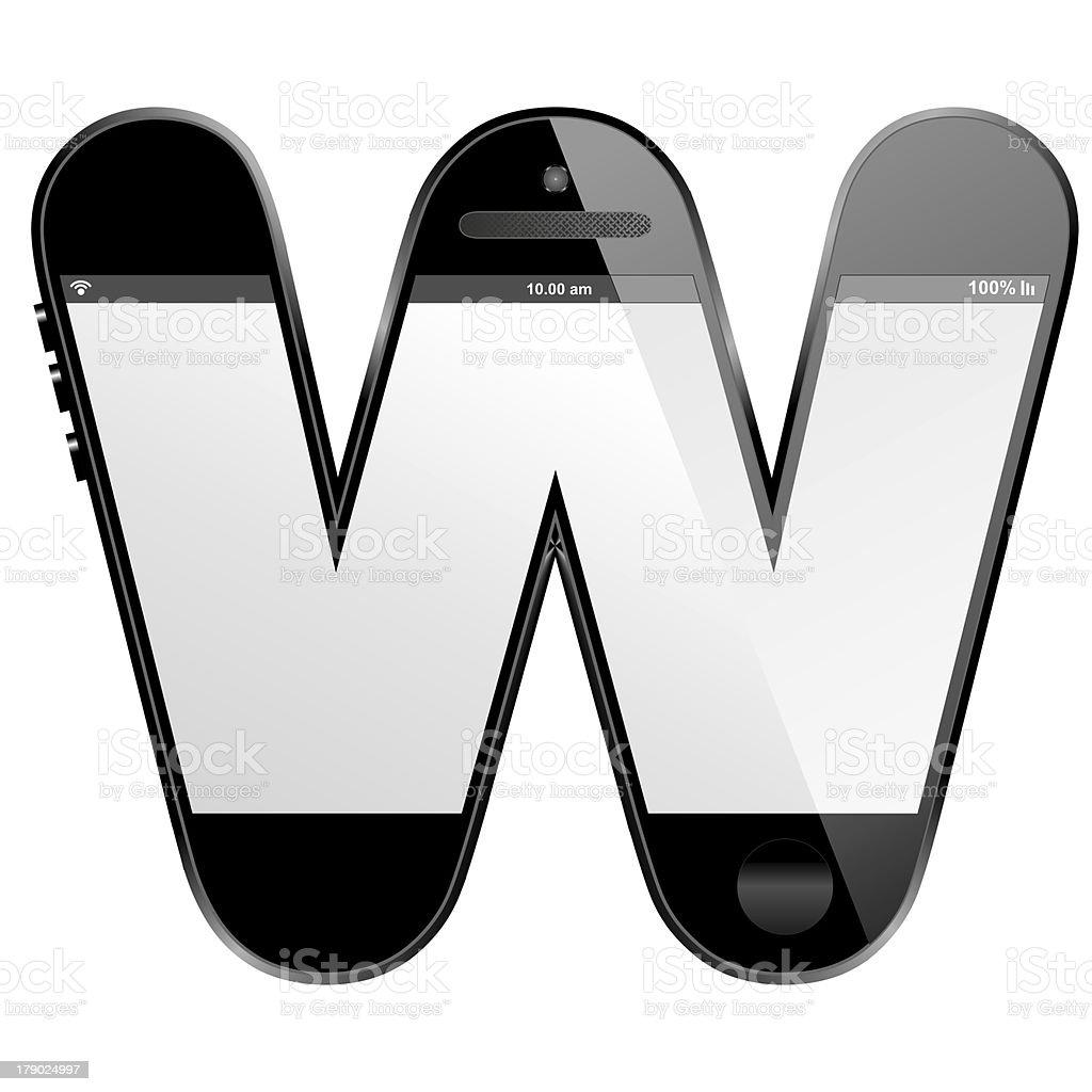 smart phone shaped, alphabet design letter, W stock photo