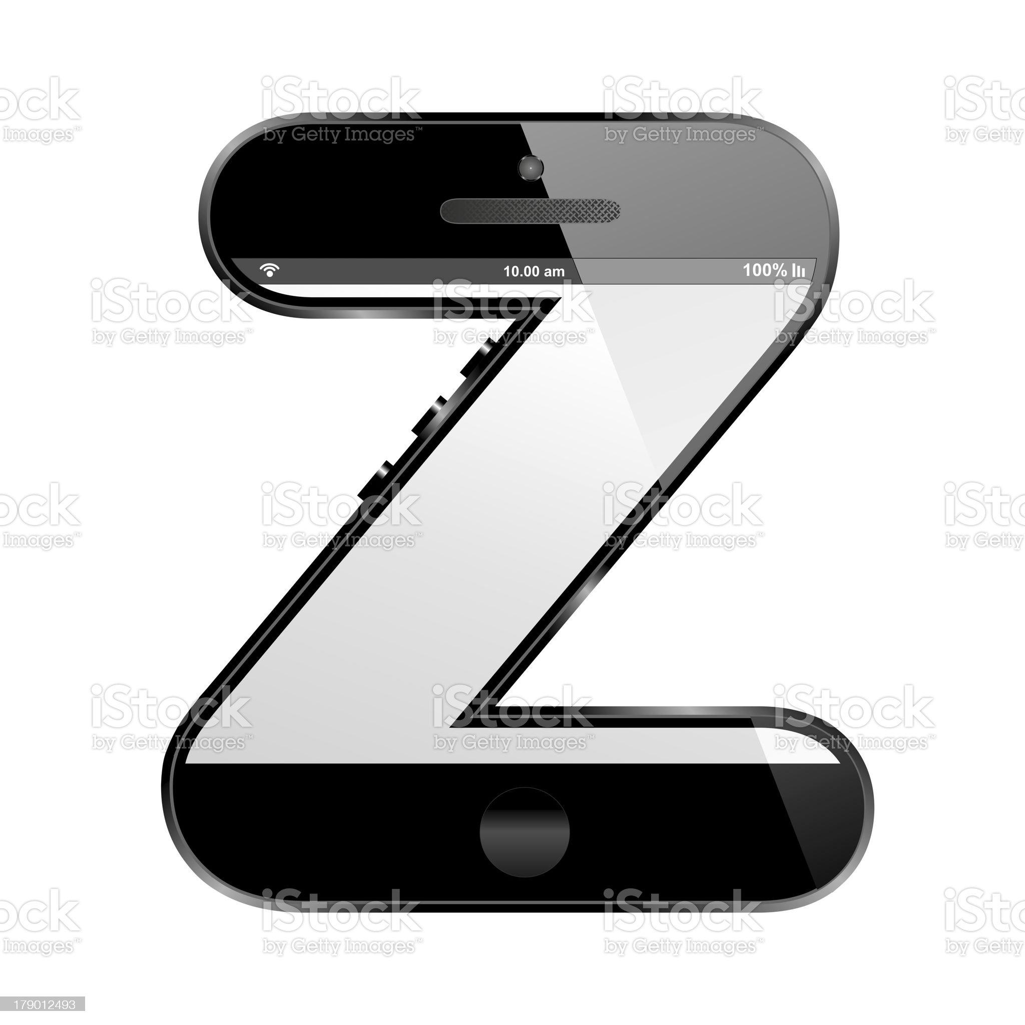 smart phone shaped, alphabet design letter, Z royalty-free stock photo