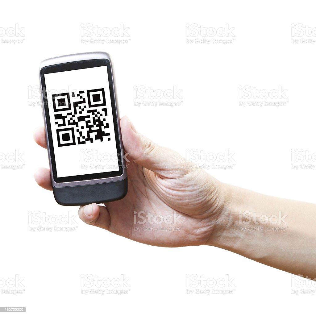 Smart phone show QR Code royalty-free stock photo