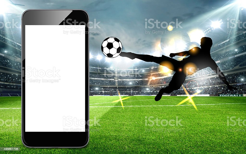 Smart phone soccer scene stock photo