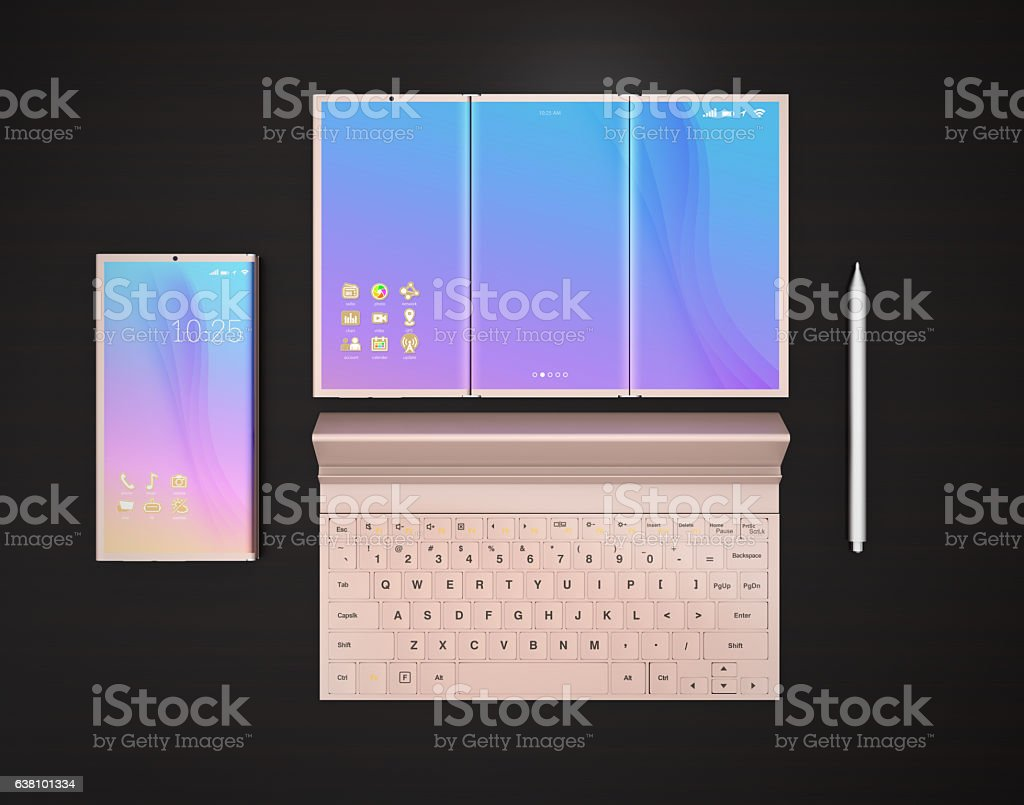 Smart phone, tablet PC, digital pen and keyboard stock photo
