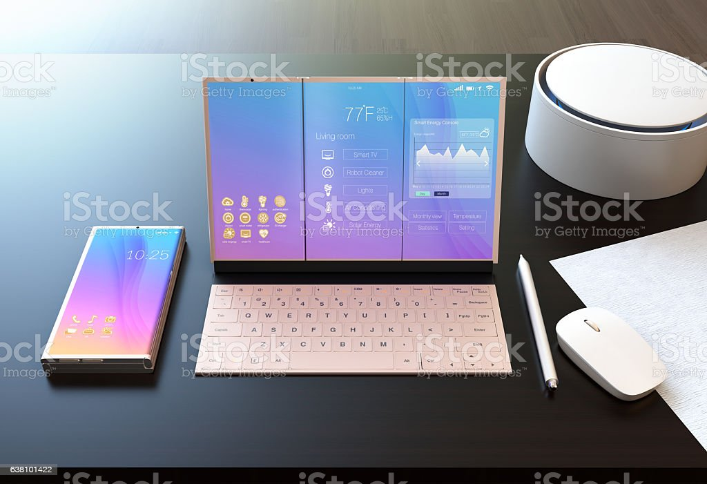 Smart phone, tablet PC, digital pen, keyboard and voice assistant stock photo