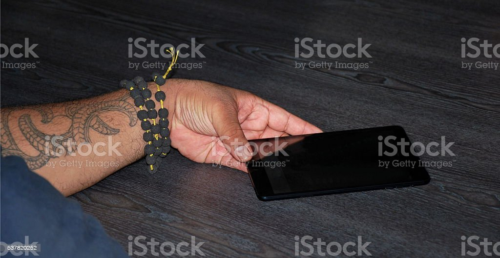 Smart Phone Technology with a Maori Perspective stock photo