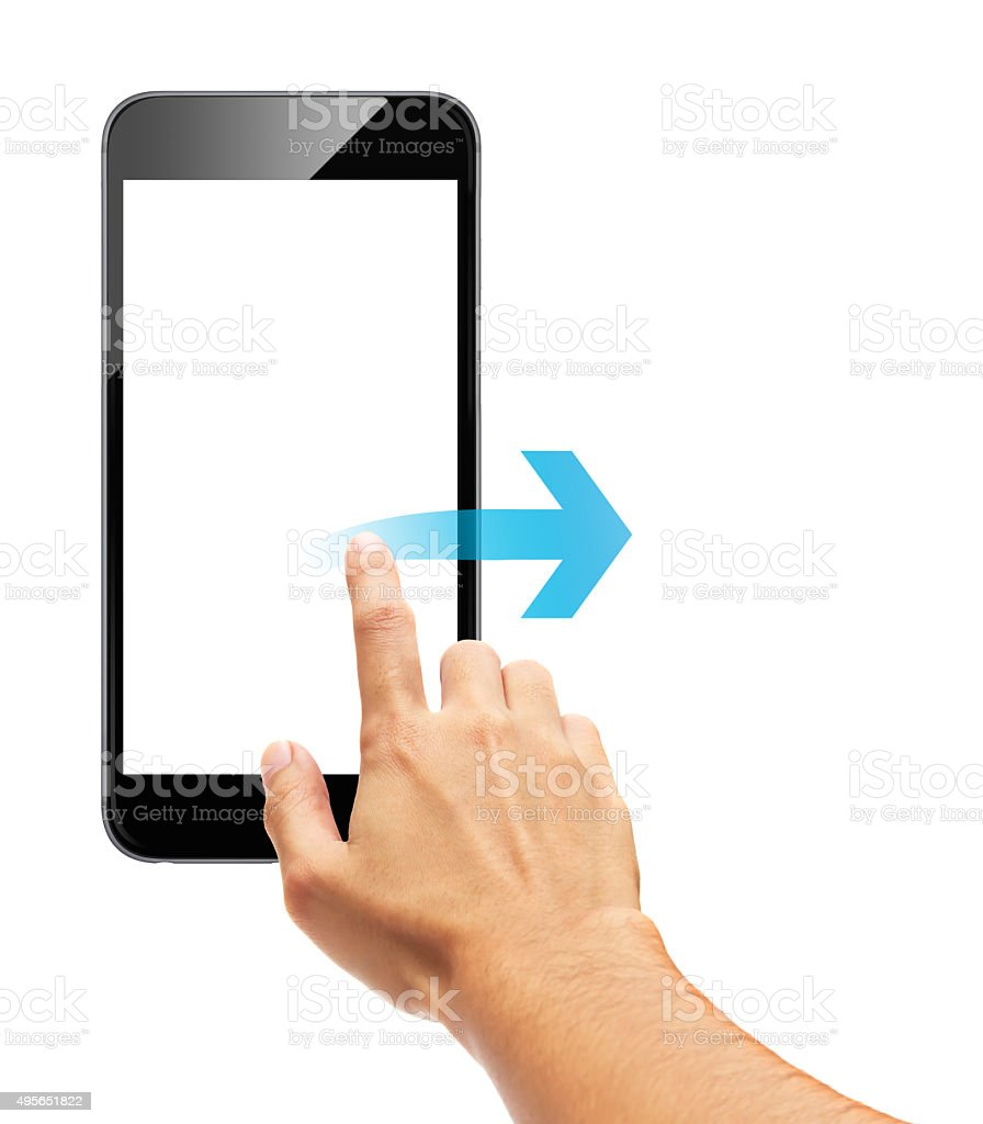 Smart phone touch - scroll arrow stock photo