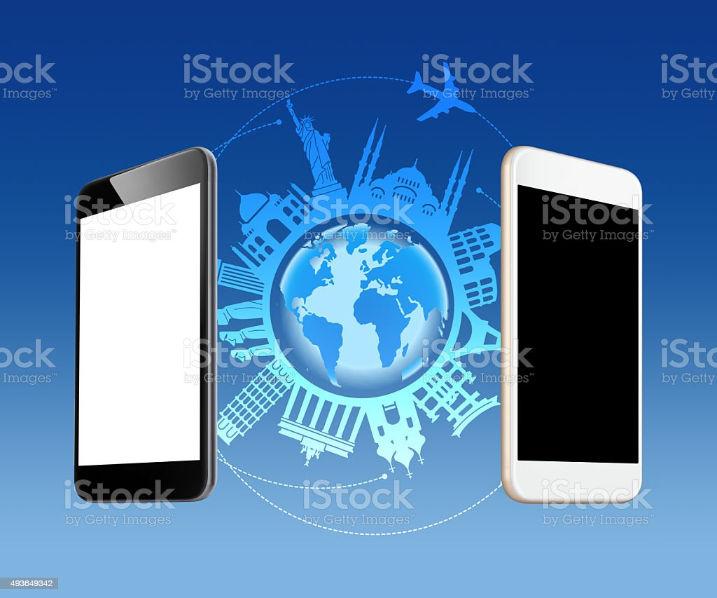 Smart phone travel ceoncept stock photo