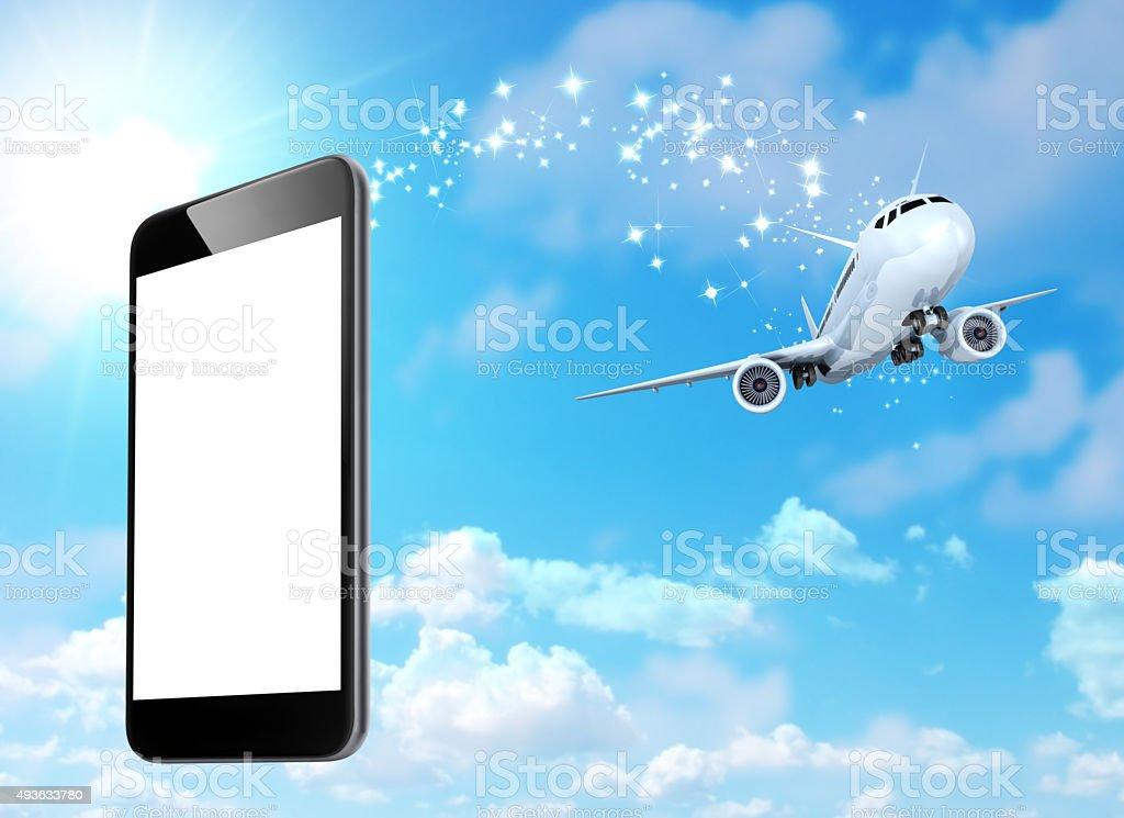 Smart phone - Travel flight stock photo