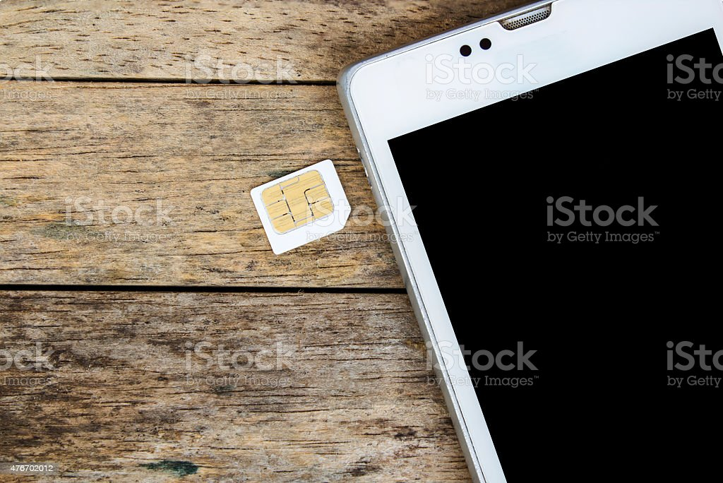 smart phone use with micro sim card, black screen stock photo