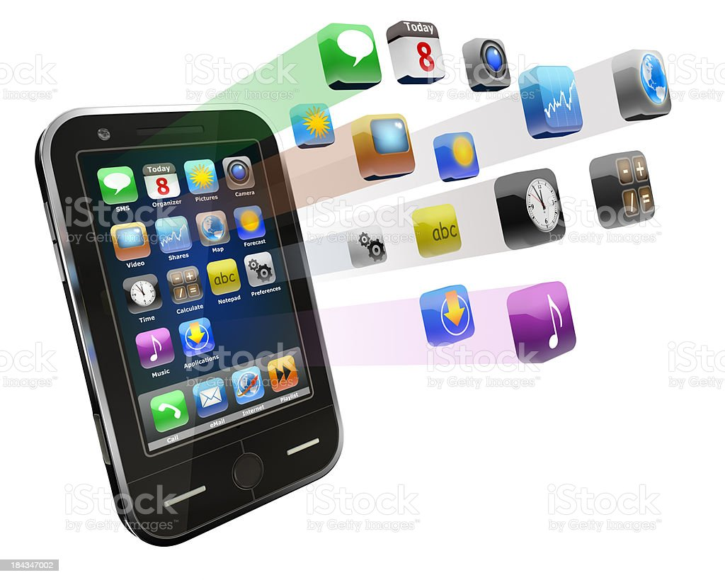 Smart phone with Apps - isolated on white/clipping path royalty-free stock photo