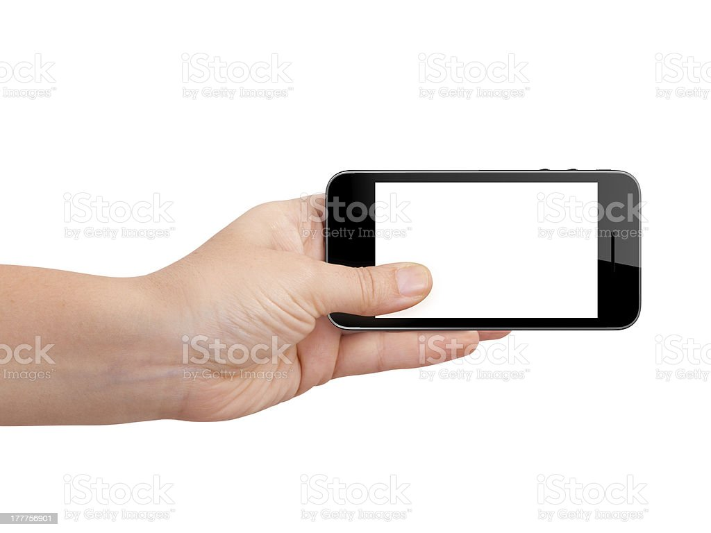 Smart Phone with Blank Screen Holding by Hand stock photo