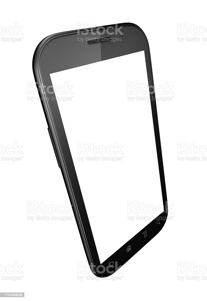 Smart phone with blank screen isolated on white stock photo