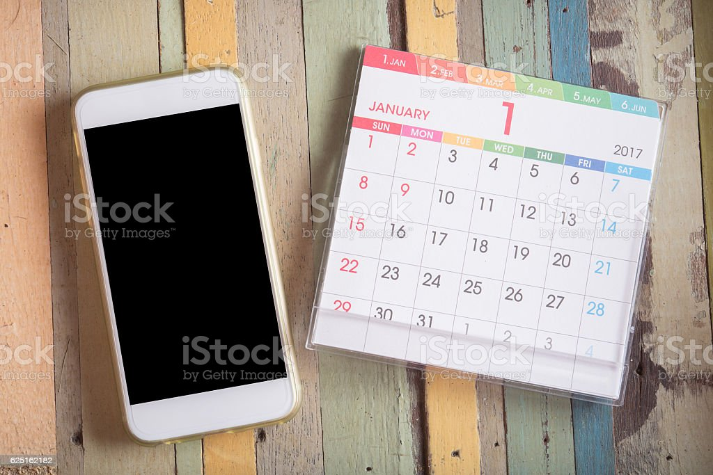 smart phone with calendar 2017 stock photo