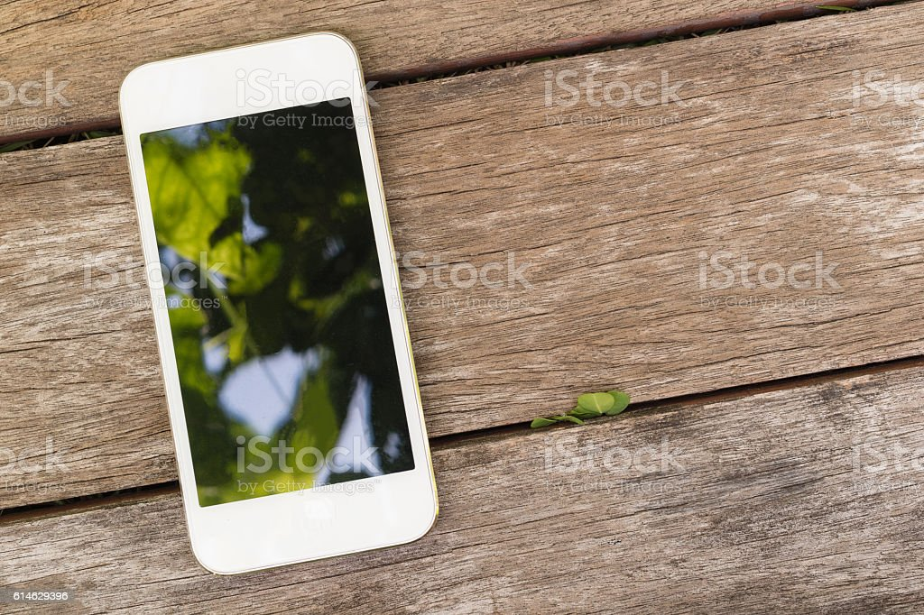 smart phone with green leaves screen stock photo