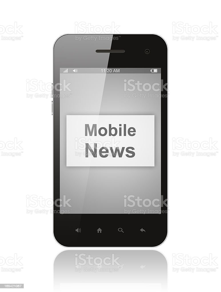 Smart phone with mobile news button royalty-free stock vector art