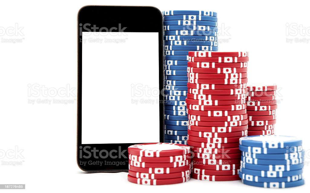 Smart Phone with Poker Chips stock photo