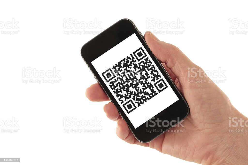 Smart Phone with QR Code (fictitious) stock photo