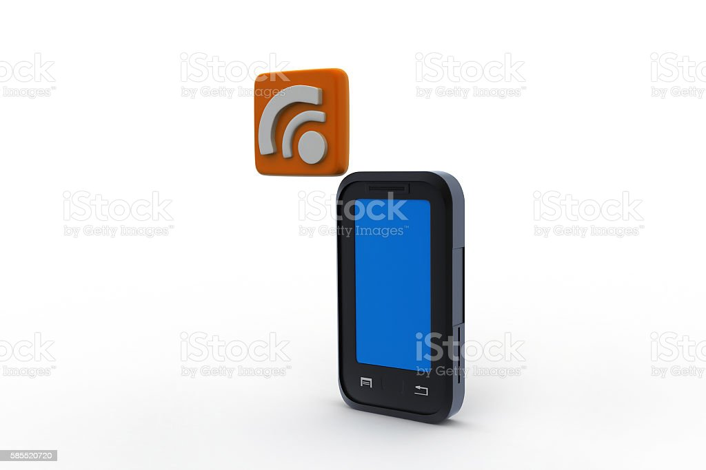 smart phone with rss sign stock photo