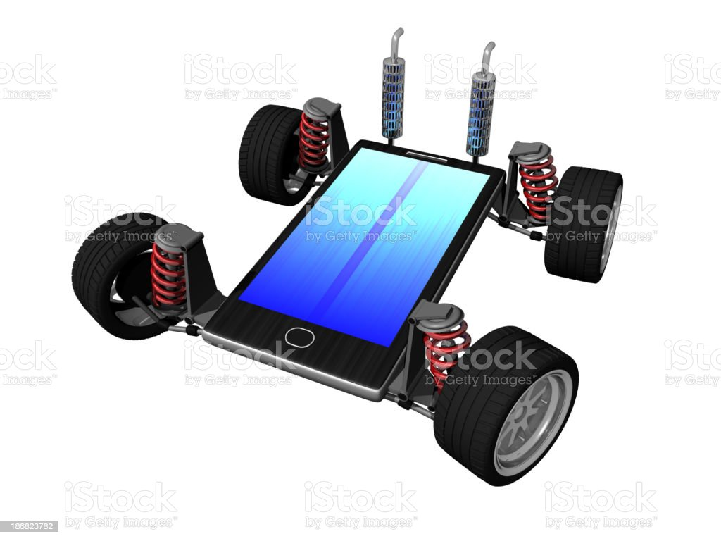 Smart phone with tires stock photo