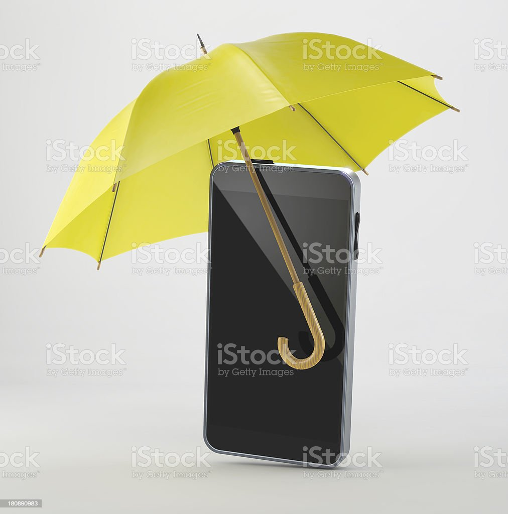 Smart Phone with Umbrella royalty-free stock photo