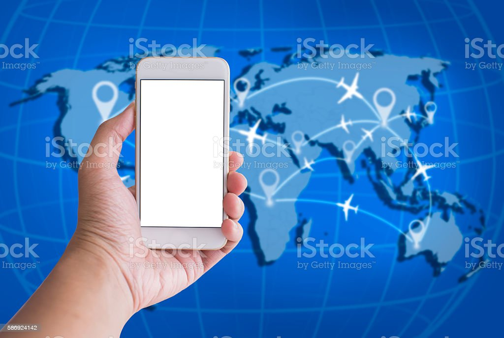 Smart phone with white screen and World Travel Concept Backgroun stock photo