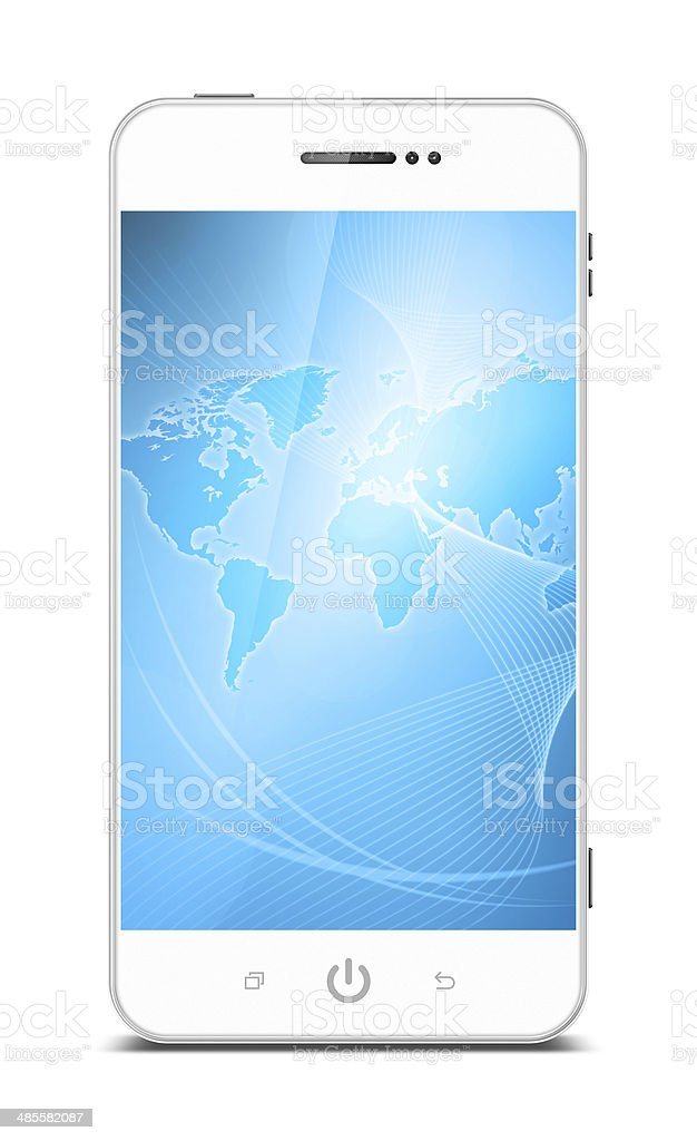 Smart Phone with world map (Clipping path!) isolated on white stock photo