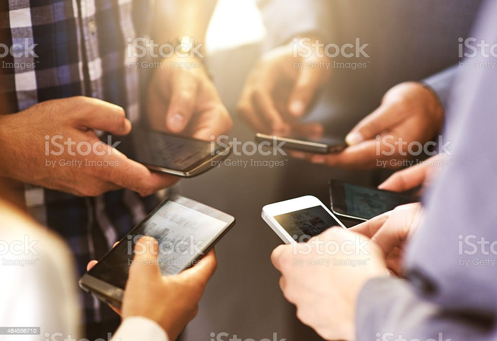Smart phones…business cards of the digital age stock photo