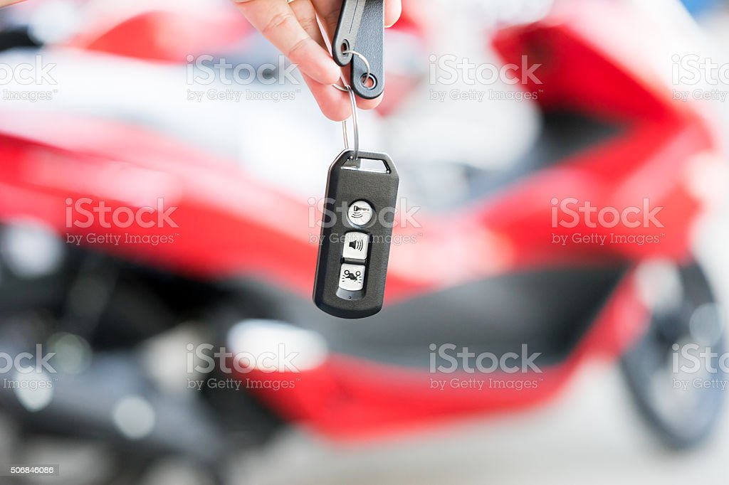Smart Remote for motorcycle stock photo