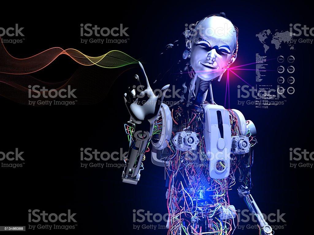 Smart Robot showing Wifi Internet Waves stock photo