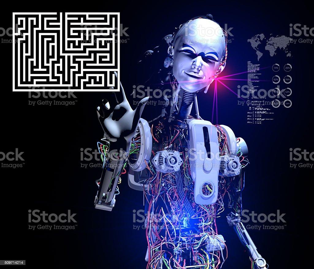 Smart Robot solving Interactive Puzzle stock photo