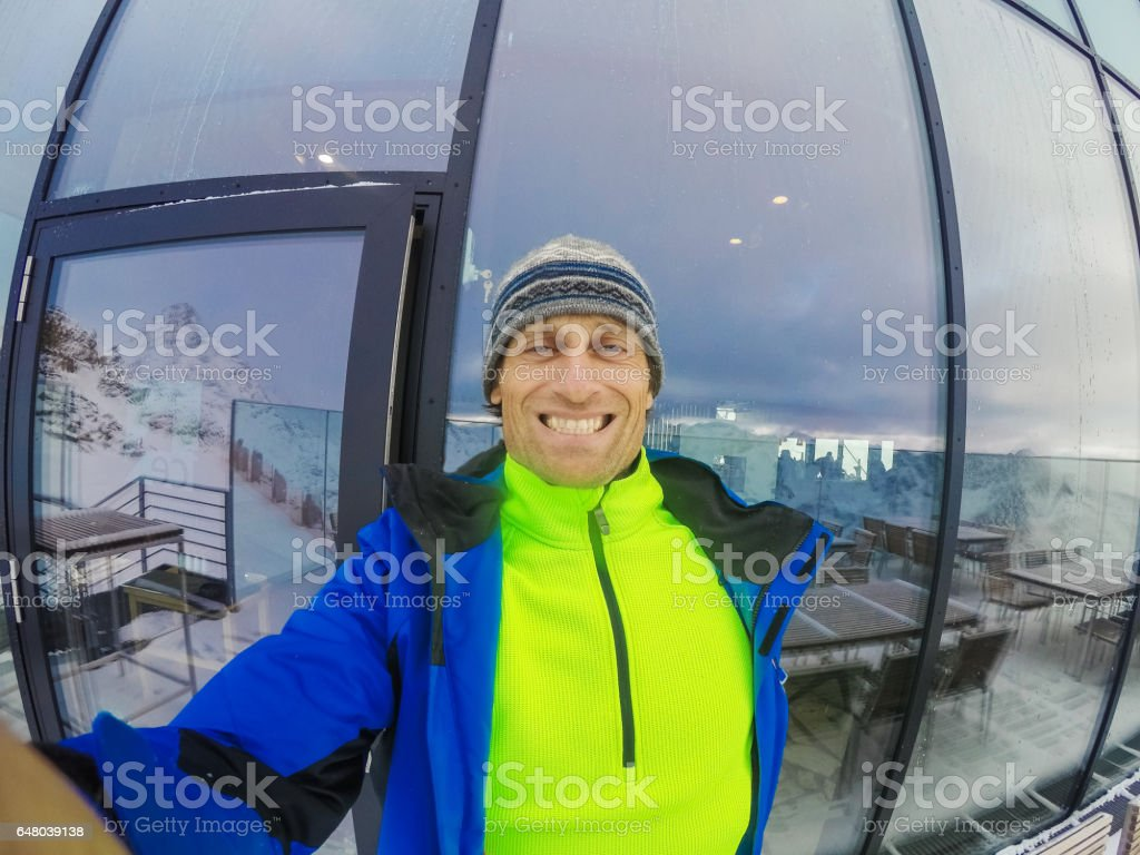 Smart snowboarder in Sölden, Austria stock photo