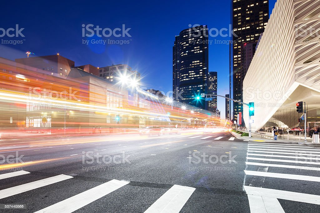 smart traffic on road in downtown of los angeles stock photo