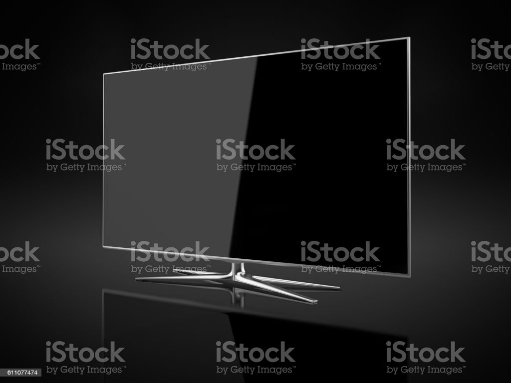 UHD 4K Smart Tv On Black Background stock photo