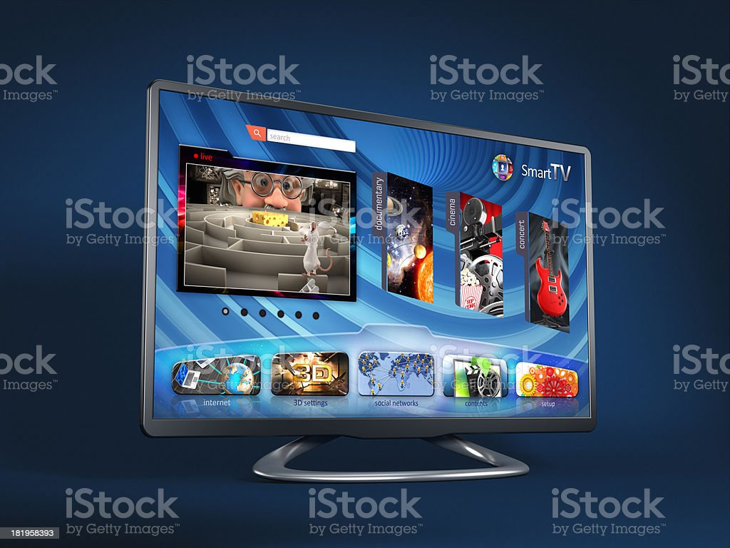 Smart TV on blue background stock photo
