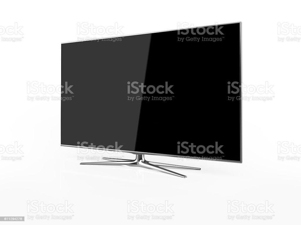 UHD 4K Smart Tv On White Background stock photo