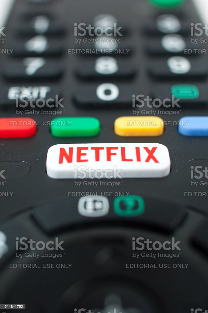 Smart TV remote control with Netflix button. stock photo