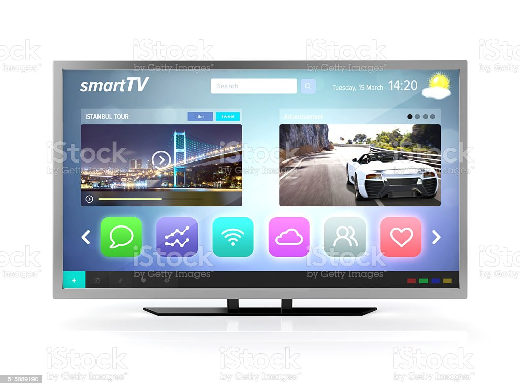 smart tv screen front view stock photo