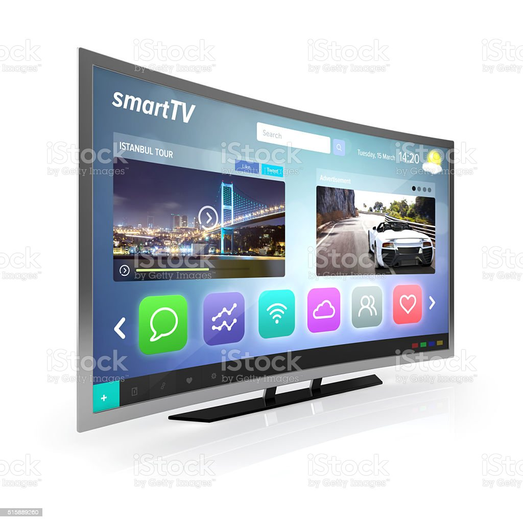 smart tv screen side view stock photo