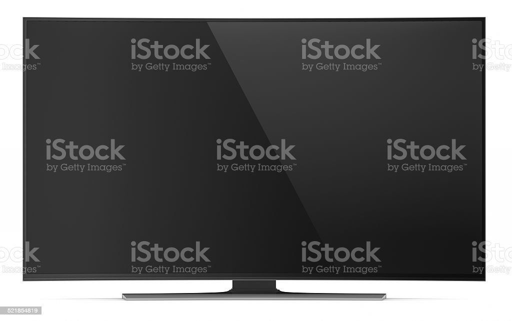 UHD smart tv with curved screen on white stock photo