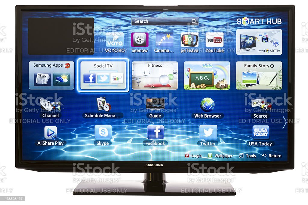 Smart TV with Samsung Apps and Web Browser stock photo