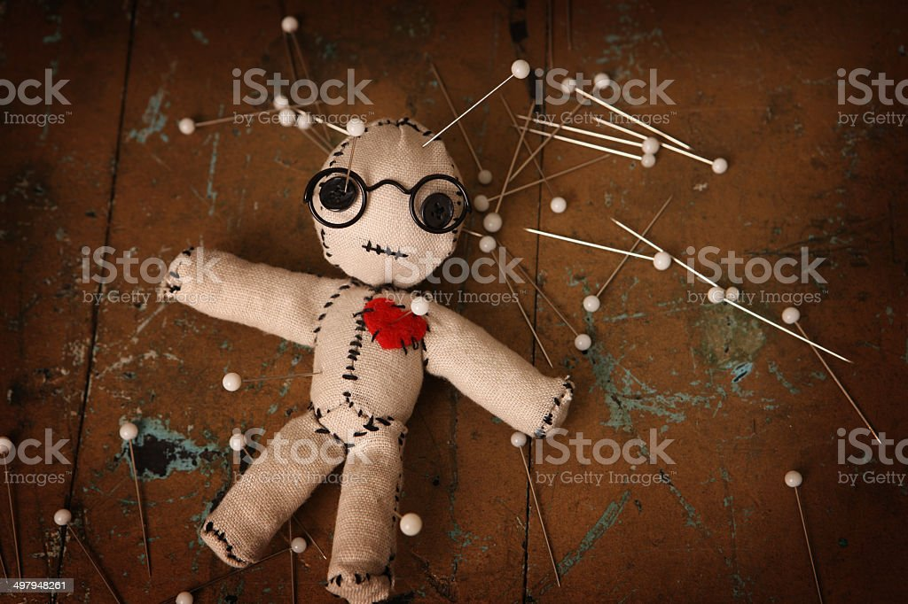 Smart Voodoo Doll with Pins stock photo