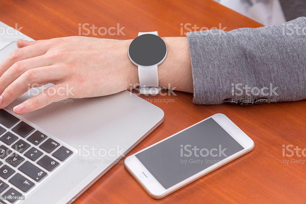smart watch and smart phone stock photo