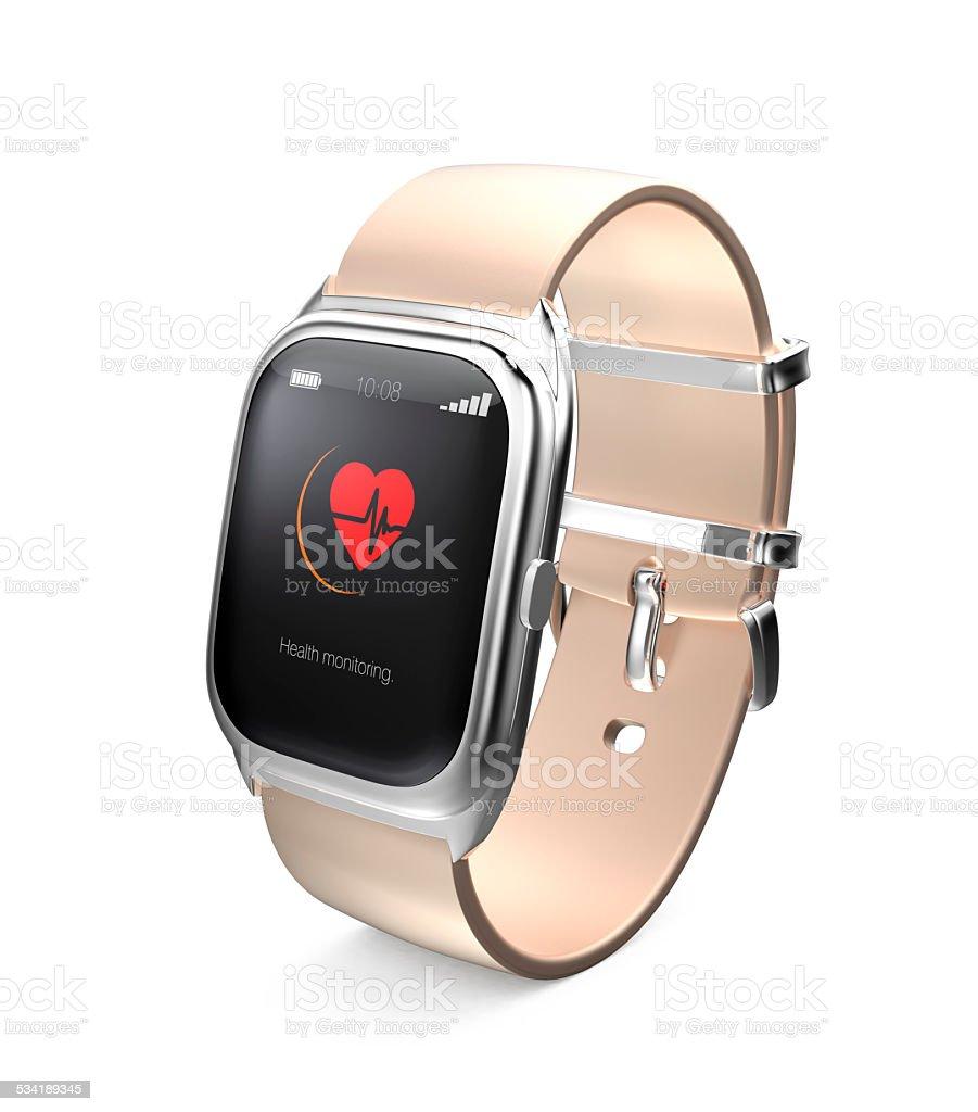 Smart watch display heart beat information on screen stock photo
