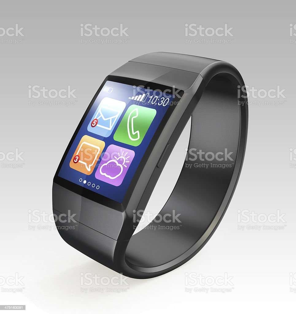 Smart watch displaying apps icons on LCD screen stock photo